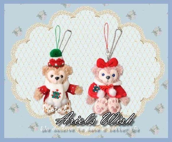 Ariel's Wish-日本東京迪士尼Duffy達菲Shelliemay雪莉玫聖誕節耶誕紅色斗篷款坐姿手機吊飾-絕版款