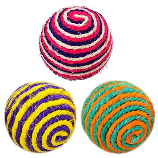 *COCO*貓咪彩色麻繩抓板球S742(直徑約9.5cm)劍麻滾球/顏色隨機出貨/貓磨爪玩具/貓咪抗憂鬱玩具