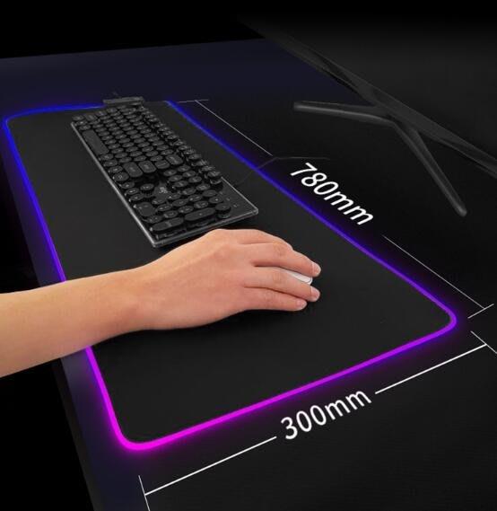 加大發光滑鼠墊超大加厚帶鎖邊幻彩防水燈光模式斷電記憶rgb光污染滑鼠墊 新年優惠Al全館免運