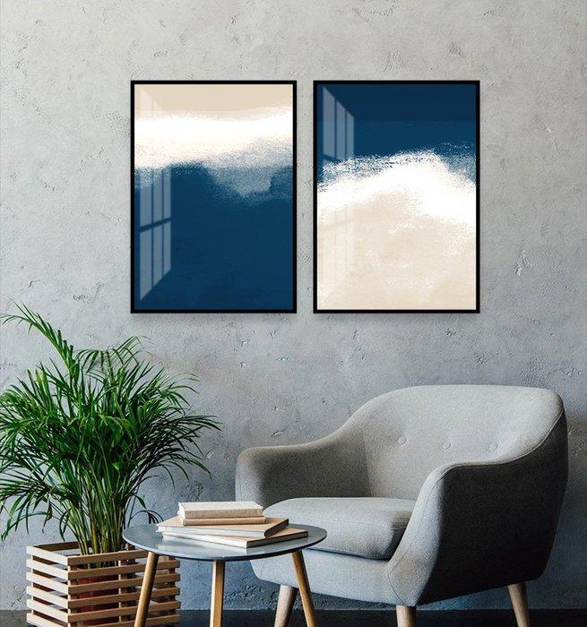 北歐現代簡約裝飾畫芯抽象藍色床頭客廳微噴打印掛畫壁畫畫心(2款可選)