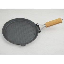 【煎盤-鑄鐵-黑色圓形-平底-摺疊把手...