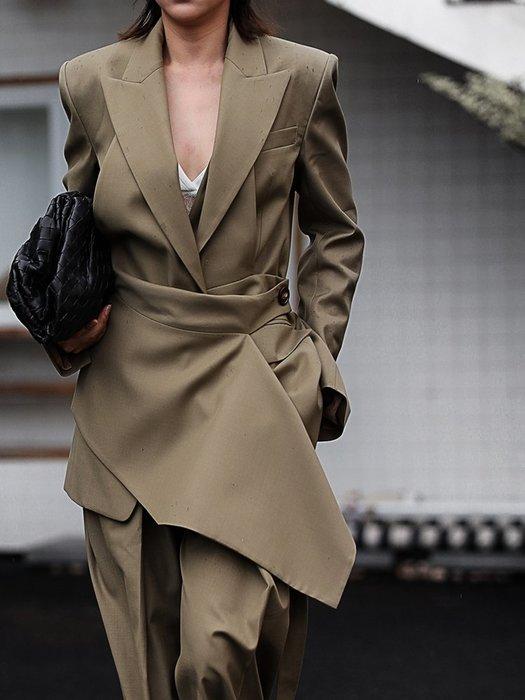 【鈷藍家】小眾品牌獨立設計高端女裝380克羊毛西裝外套解構設計層次藝術感羊毛兩件套圍裙馬甲 中長版西裝領可拆卸馬甲 多穿