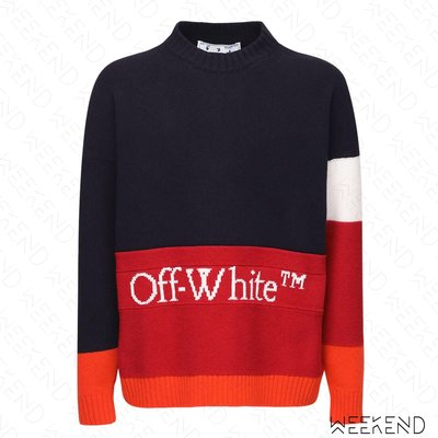 【WEEKEND】 OFF WHITE Logo 針織 羊毛 上衣 衛衣 大學T 藍+紅色 20秋冬