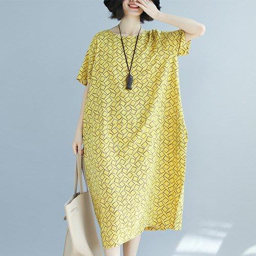 文藝棉麻連身裙中大尺碼 超寬鬆幾何圖形連身裙 艾爾莎【TGW6678】