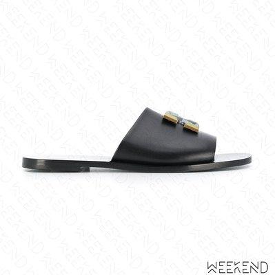 【WEEKEND】 OFF WHITE Plaque Arrow 金屬箭頭 拖鞋 涼鞋 黑色 20春夏
