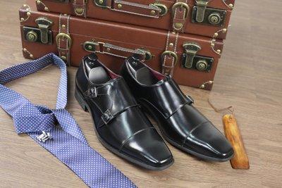 『老兵牛仔』KB-3004-3日系商務正裝三接頭孟克搭扣鞋/二層牛皮  /時尚/彈力/耐摩/個性
