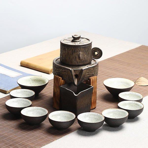 5Cgo【茗道】含稅會員有優惠  538571369243 陶瓷半全自動茶具套裝懶人功夫茶器整套禮盒粗陶石磨時來運轉茶壺