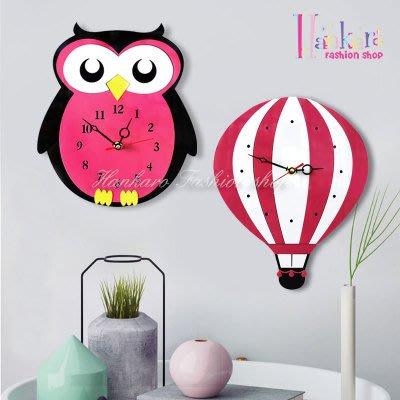 ☆[Hankaro]☆ 創意新風格壓克力立體貓頭鷹/熱氣球造型掛鐘