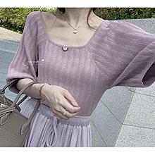 Maisobo 韓 春夏 超美薰衣草紫小花裝飾方領針織衫 2色 Q-168 預購