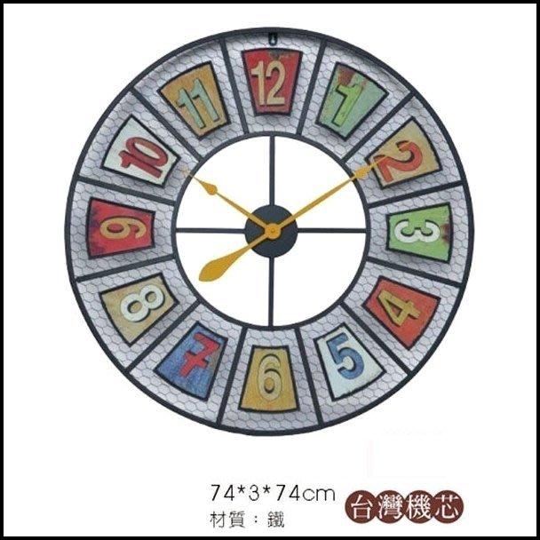 【歐舍傢居】美式鄉村風 仿舊鐵線數字直徑74公分超大型掛鐘時鐘 鐵藝藝術圓形掛鐘壁鐘大鐘面工業風壁鐘圓鐘