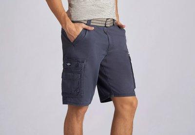 【美國Levis專賣】送鐵環腰帶LEE Dungarees Cargo 重磅 深藍色立體口袋短褲29-42腰優惠501