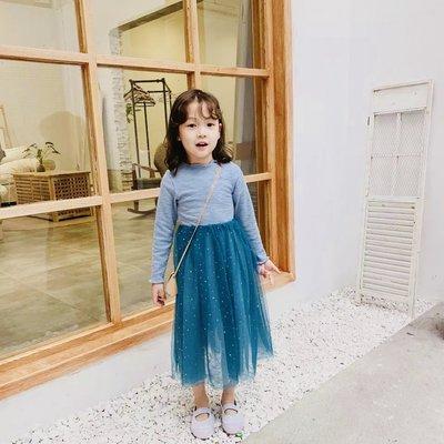現貨!韓版中小童 清新甜美 女童 超美重工 星星紗裙 連衣裙 洋裝(可面交)