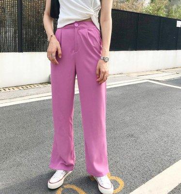 visa正韓專屬女裝MONA 韓國新款 柔軟親膚雪紡闊腿褲顯腿長休閒直筒女裝褲子