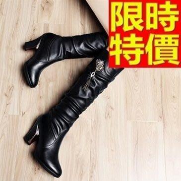 長靴-精美潮流時尚真皮墜飾粗跟過膝女馬靴2色64e31[獨家進口][米蘭精品]