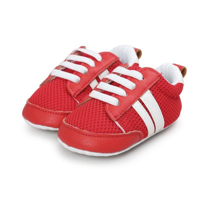 森林寶貝屋~特價~紅色透氣網布休閒球鞋~學步鞋~幼兒鞋~寶寶鞋~嬰兒鞋~學走鞋~童鞋~鬆緊帶設計~坐學步車穿~彌月贈禮