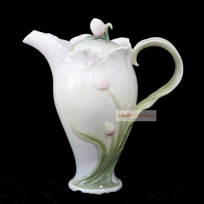 點點蘑菇屋 精緻歐洲高級瓷器鬱金香茶壺 藝術陶瓷精品 擺飾 櫥窗擺設 家飾 現貨 免運費