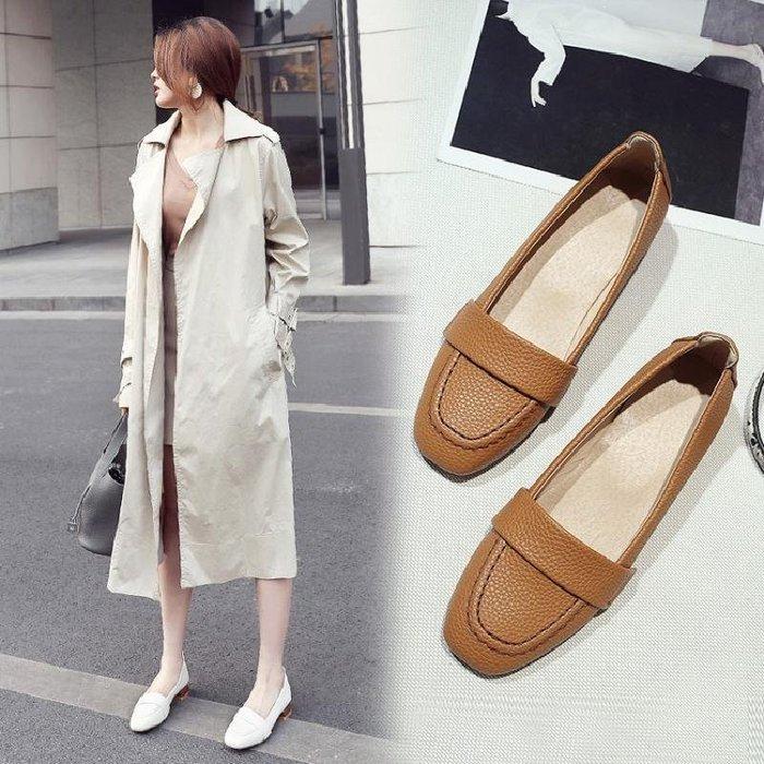 美麗春秋款姜黃色米色白色女鞋低跟單鞋工作鞋大碼鞋小碼鞋女