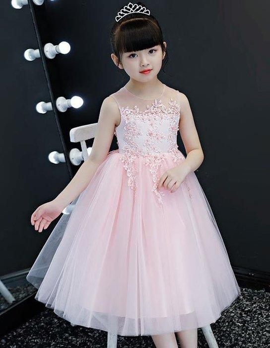 紫滕戀推出夏季兒童公主裙女童長款禮服裙花童小女孩鋼琴表演出服大童蓬蓬紗  粉色下標區