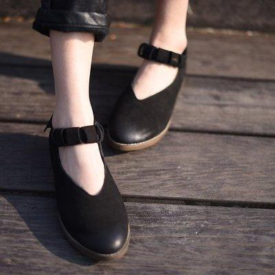*姑涼家* 原創2017春季新森女羊皮淺口單鞋女舒適低跟一字帶女鞋