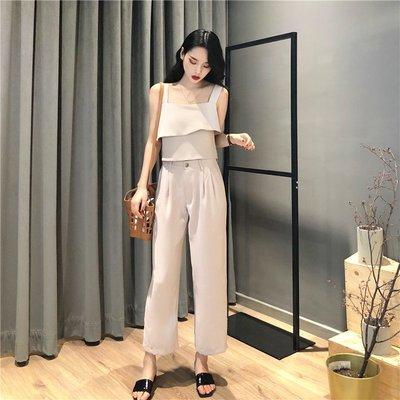夏裝韓國復古風簡約雙層吊帶背心+高腰顯瘦闊腿褲直筒褲兩件套女