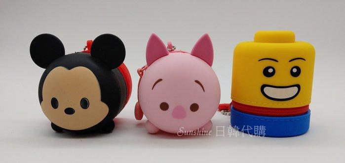 現貨 韓國正品 Wing House 迪士尼 正版授權 矽膠零錢包 米奇 小熊維尼 小豬 OXFORD 樂高