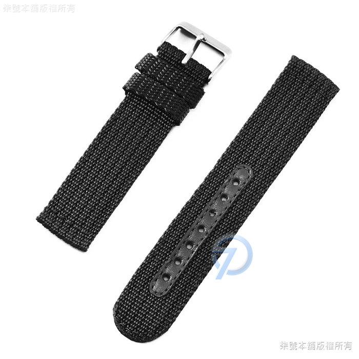 【柒號本舖】通用型針織尼龍帆布錶帶-黑色