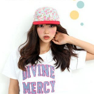 【 草莓果凍 】 韓國 款 少女時代 小碎花款 休閒風格 花朵 棒球帽 鴨舌帽 嘻哈帽 K123