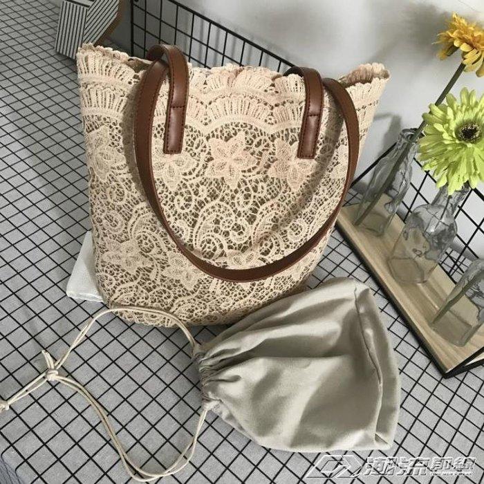 夏日新款蕾絲唯美森繫單肩包 手提女士購物袋