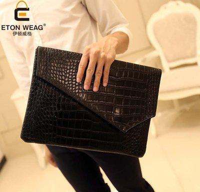 鱷魚紋信封包手拿包 新款韓版手包 手抓包文件包ipad包男女手包