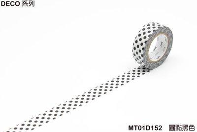 《MT和紙膠帶MT01D152》DECO系列的 圓點黑色(15mm),手作膠帶裝飾手帳相本、卡片筆記