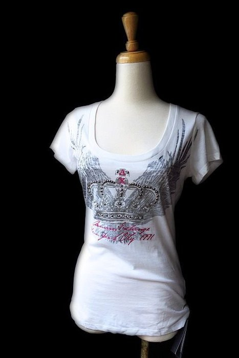*Beauty*ARMANI EXCHANGE米白色鉚釘短袖棉T恤 S號 原價1790元 售1200元 JW