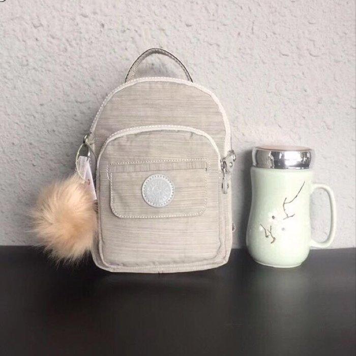 Kipling 猴子包 mini HB7349 亞麻灰 多用款肩背 斜背 側背 輕量雙肩後背包 小號 防水 限時優惠
