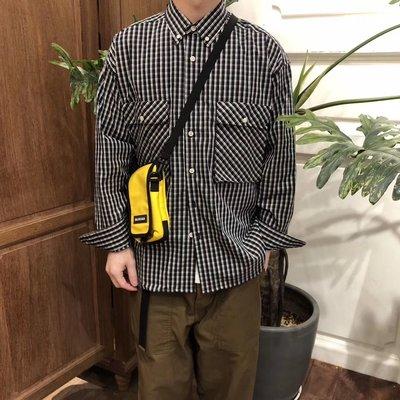 ∵ PRAY FOR FASHION ∴日系寬鬆格子寬鬆工裝口袋長袖襯衫 似FOG式