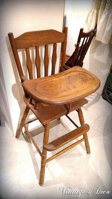 美國古董木製小朋友餐椅 復古嬰兒椅 兒童餐椅 [CHAIR-0120] 復古家具 二手椅子 老木椅 古董傢俱 古董兒童椅