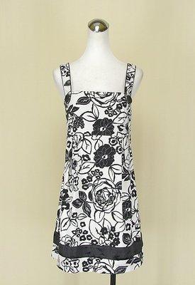 ◄貞新二手衣►ONE AFTER ANOTHER 日本品牌 白色花朵平口無袖棉質洋裝F號(76389)
