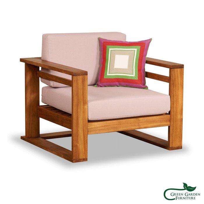 墨西哥 柚木單人沙發椅(原色)【大綠地家具】100%印尼柚木實木/無上漆原木款/實木沙發/客廳組