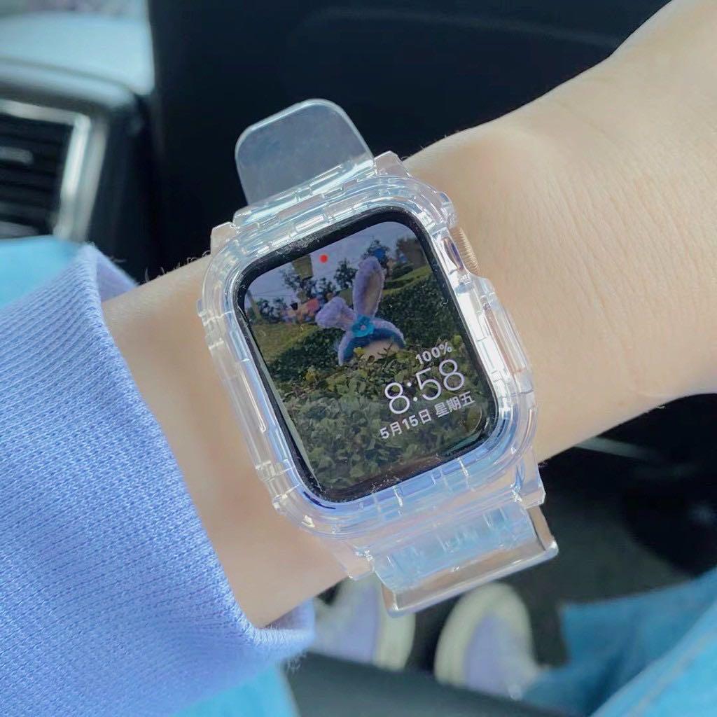 現貨 Apple watch 透明連體錶帶冰川手錶帶 蘋果手錶iwatch 4/5代 防摔TPU一體錶帶 錶帶透明