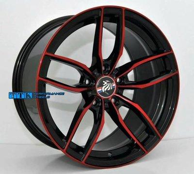 【台灣輪胎王】特殊 五爪分岔 鋁圈樣式 17吋 5孔 全車系 7.5J 黑底紅車面