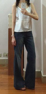 超低價釋出!9.5新 美國品牌 genetic denim 深藍色棉質寬管牛仔褲 size:27