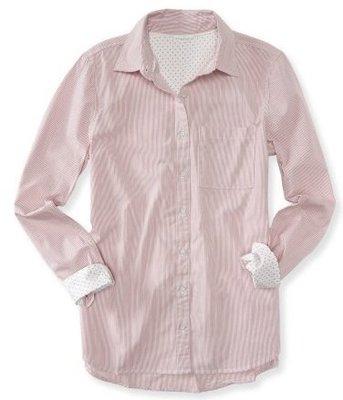 美國Aeropostal long sleeve pinstripe woven shirt S號純棉細條紋長袖襯衫含運
