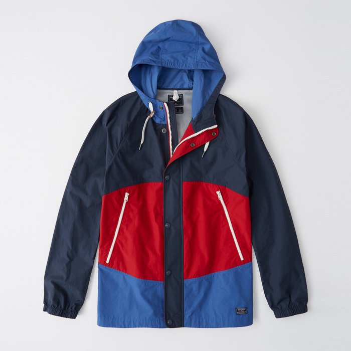 【Abercrombie&Fitch】【A&F】AF男款風衣外套薄款小標拼接藍紅 F04190321-04