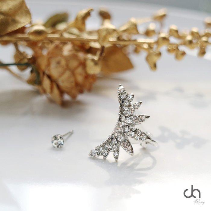 正韓皇冠鑲鑽耳骨夾 耳針組合 鑽石耳環 銀飾 飾品 米絲小姐玩時妝