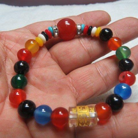 【競標網】高檔巴西天然五色瑪瑙水晶(六字)造型手珠8mm(超低價起標、價高得標、限量一件、標到賺到)