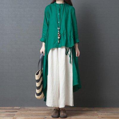 秋季大碼女裝文藝寬鬆長款不規則襯衫純色亞麻長袖連衣裙