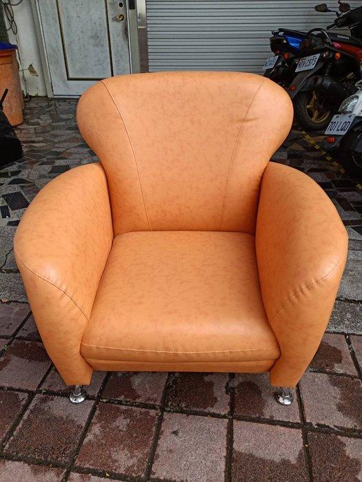非凡二手家具 全新品 柑橘色單人座皮沙發*客廳沙發*皮沙發*洽談沙發*辦公沙發*沙發*單人座*套房沙發*房間椅