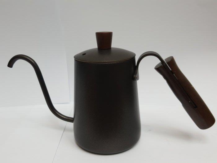~* 萊康精品 *~ 加厚不鏽鋼 S型原木 手沖咖啡壼 細口壼 350cc 黑色