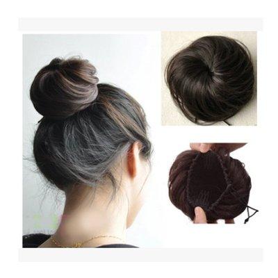 JY8001-3假髮_花苞頭 丸子頭 髮包蓬鬆 纏繞式直髮包/深棕色