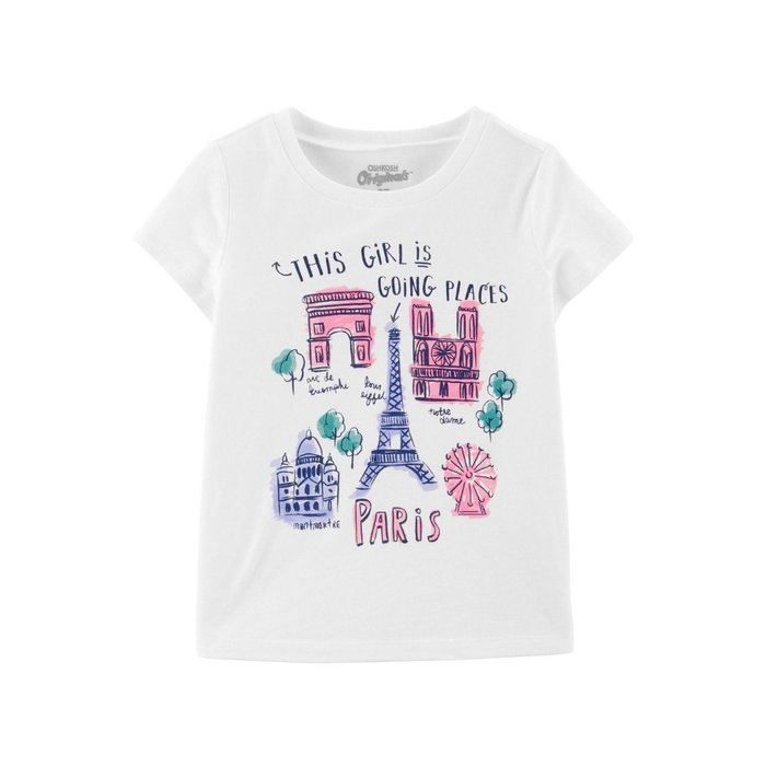 【Carter's】CS女童短袖巴黎女孩 白 F03190830-07