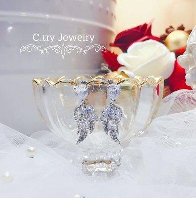 💎1202、典藏靈秀天鵝羽絨滿鑽耳環💎正韓飾品 耳環 珠寶 925純銀針 EE023