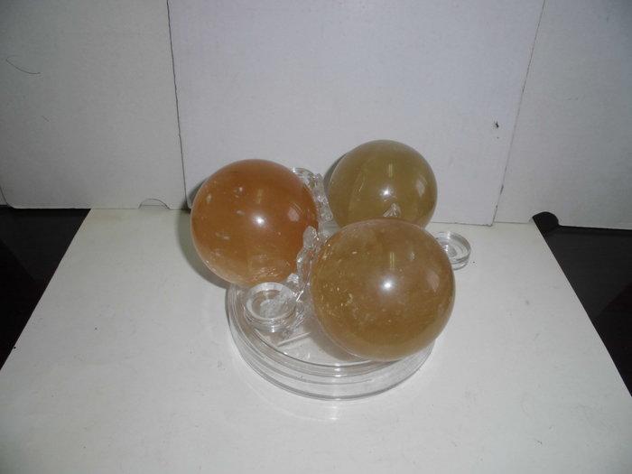 黃水晶球,冰洲石球X3
